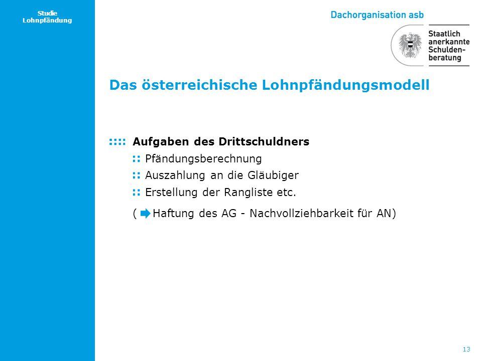 13 Studie Lohnpfändung Das österreichische Lohnpfändungsmodell Aufgaben des Drittschuldners Pfändungsberechnung Auszahlung an die Gläubiger Erstellung