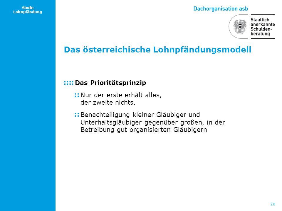 28 Studie Lohnpfändung Das österreichische Lohnpfändungsmodell Das Prioritätsprinzip Nur der erste erhält alles, der zweite nichts. Benachteiligung kl