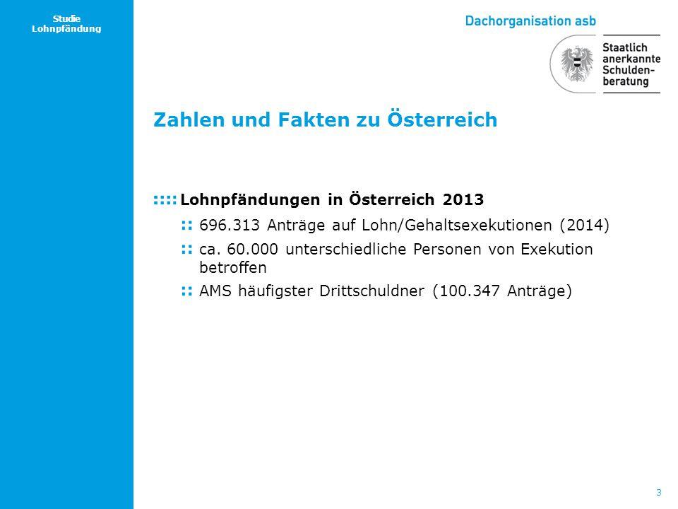 3 Studie Lohnpfändung Zahlen und Fakten zu Österreich Lohnpfändungen in Österreich 2013 696.313 Anträge auf Lohn/Gehaltsexekutionen (2014) ca. 60.000