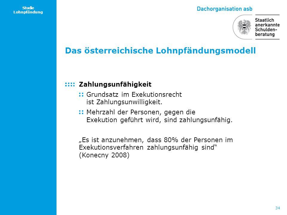 34 Studie Lohnpfändung Das österreichische Lohnpfändungsmodell Zahlungsunfähigkeit Grundsatz im Exekutionsrecht ist Zahlungsunwilligkeit. Mehrzahl der