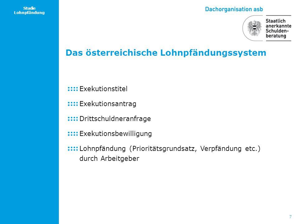 7 Studie Lohnpfändung Das österreichische Lohnpfändungssystem Exekutionstitel Exekutionsantrag Drittschuldneranfrage Exekutionsbewilligung Lohnpfändun