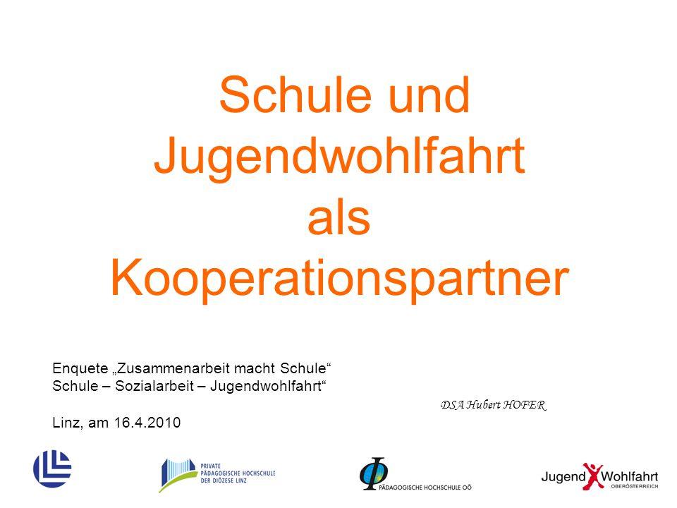 """Schule und Jugendwohlfahrt als Kooperationspartner DSA Hubert HOFER Enquete """"Zusammenarbeit macht Schule"""" Schule – Sozialarbeit – Jugendwohlfahrt"""" Lin"""