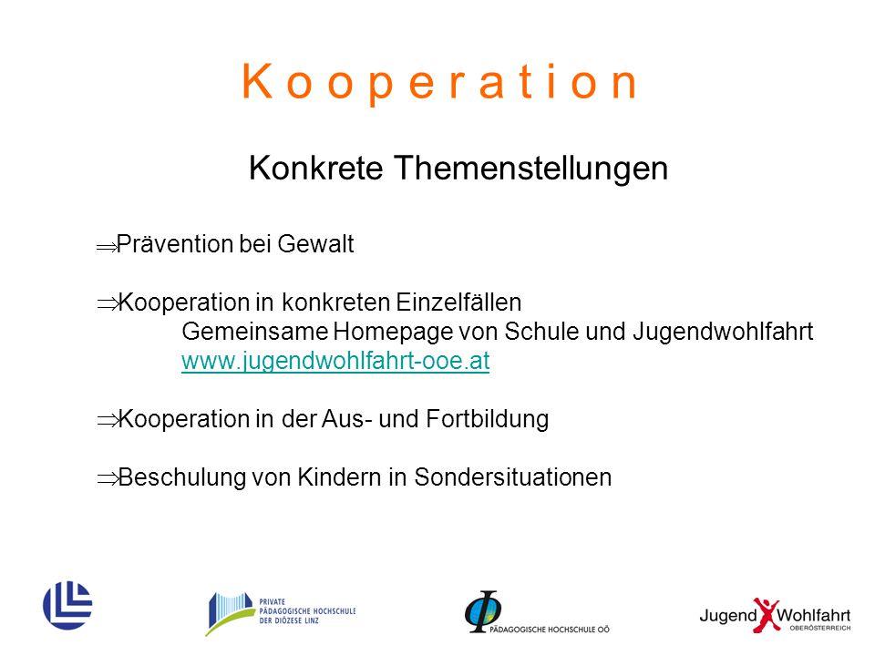 K o o p e r a t i o n Konkrete Themenstellungen  Prävention bei Gewalt  Kooperation in konkreten Einzelfällen Gemeinsame Homepage von Schule und Jug