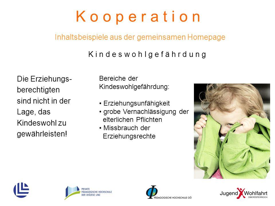 K o o p e r a t i o n Inhaltsbeispiele aus der gemeinsamen Homepage Die Erziehungs- berechtigten sind nicht in der Lage, das Kindeswohl zu gewährleist