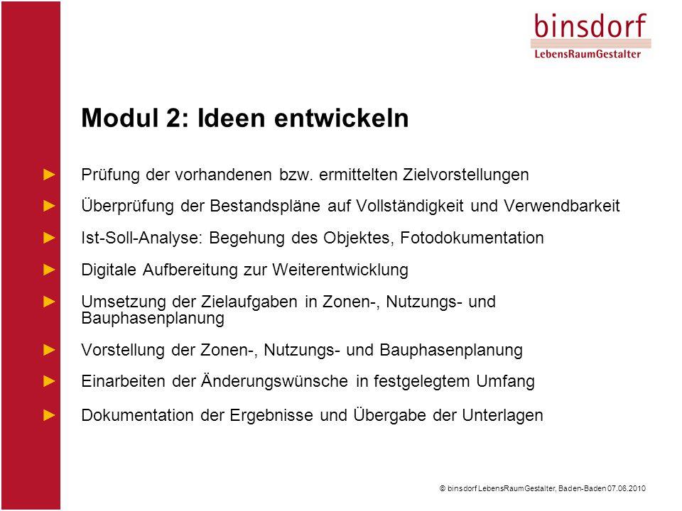 © binsdorf LebensRaumGestalter, Baden-Baden 07.06.2010 ►Prüfung der vorhandenen bzw.