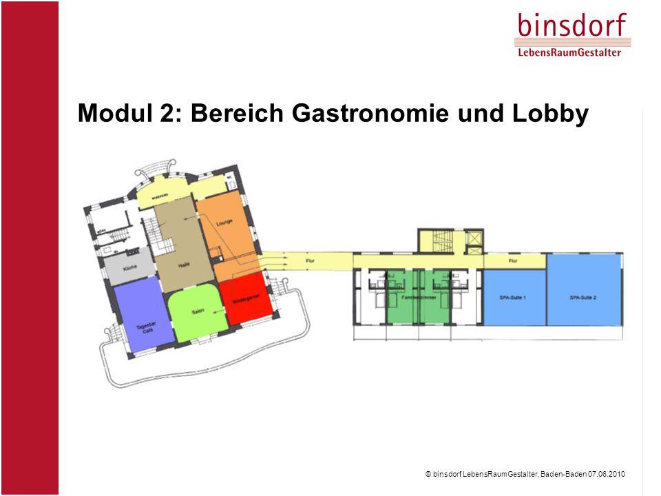 © binsdorf LebensRaumGestalter, Baden-Baden 07.06.2010 Modul 2: Bereich Gastronomie und Lobby © binsdorf LebensRaumGestalter, Baden-Baden 07.06.2010