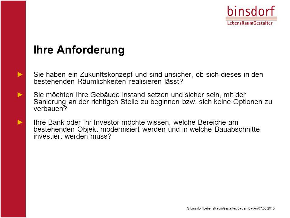 © binsdorf LebensRaumGestalter, Baden-Baden 07.06.2010 ►Sie haben ein Zukunftskonzept und sind unsicher, ob sich dieses in den bestehenden Räumlichkeiten realisieren lässt.