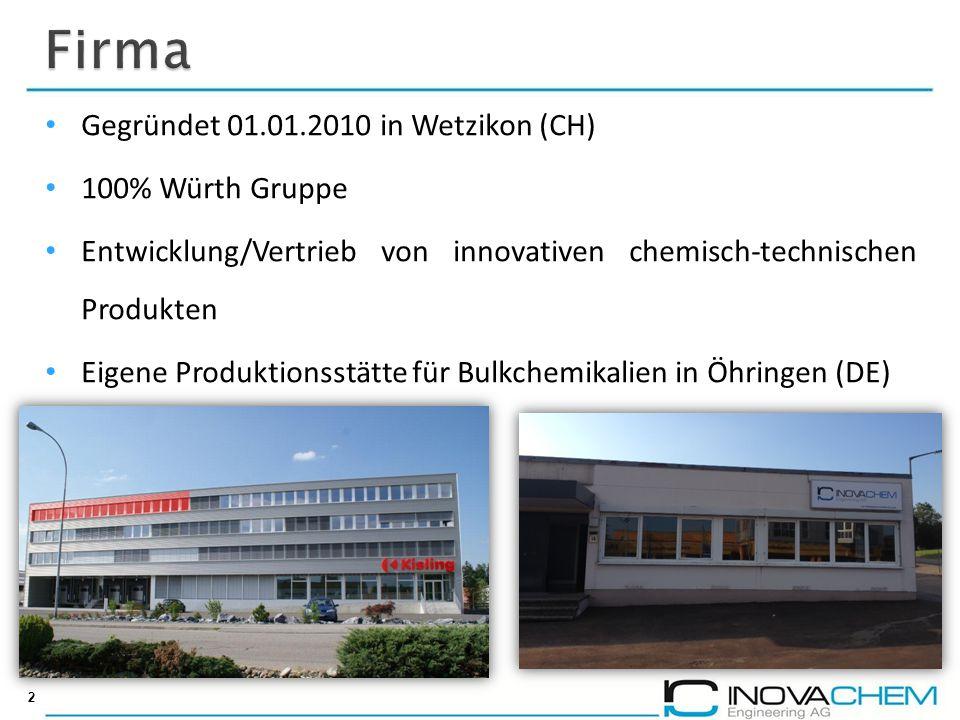 2 Gegründet 01.01.2010 in Wetzikon (CH) 100% Würth Gruppe Entwicklung/Vertrieb von innovativen chemisch-technischen Produkten Eigene Produktionsstätte