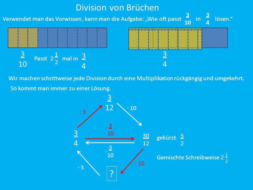 """Division von Brüchen Verwendet man das Vorwissen, kann man die Aufgabe: """"Wie oft passt in lösen."""" 3 10 3434 3 10 3434 3 10 : 3434 ? 3 10 ∙ Wir machen"""