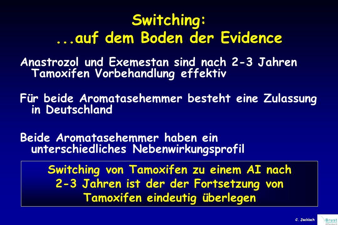 Switching:...auf dem Boden der Evidence Anastrozol und Exemestan sind nach 2-3 Jahren Tamoxifen Vorbehandlung effektiv Für beide Aromatasehemmer besteht eine Zulassung in Deutschland Beide Aromatasehemmer haben ein unterschiedliches Nebenwirkungsprofil Switching von Tamoxifen zu einem AI nach 2-3 Jahren ist der der Fortsetzung von Tamoxifen eindeutig überlegen C.