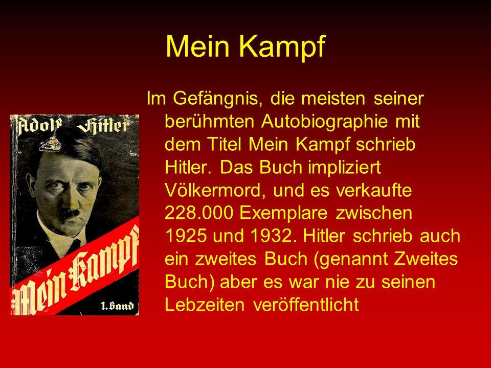 Mein Kampf Im Gefängnis, die meisten seiner berühmten Autobiographie mit dem Titel Mein Kampf schrieb Hitler.