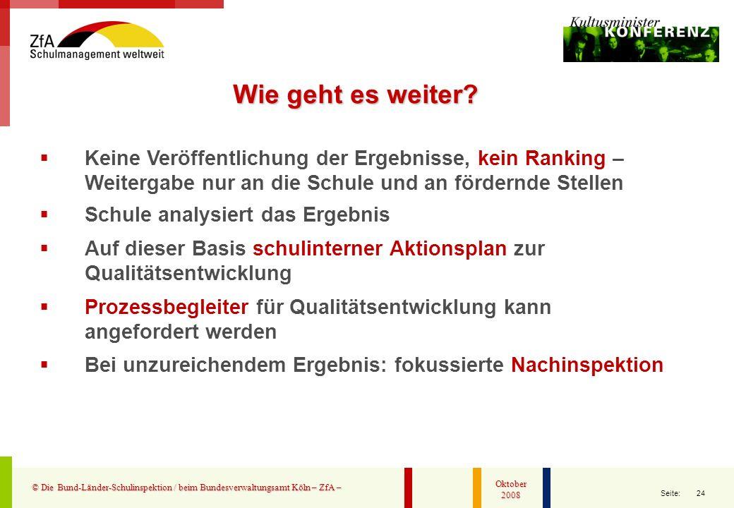 24 Seite: © Die Bund-Länder-Schulinspektion / beim Bundesverwaltungsamt Köln – ZfA – Oktober 2008 Keine Veröffentlichung der Ergebnisse, kein Ranking