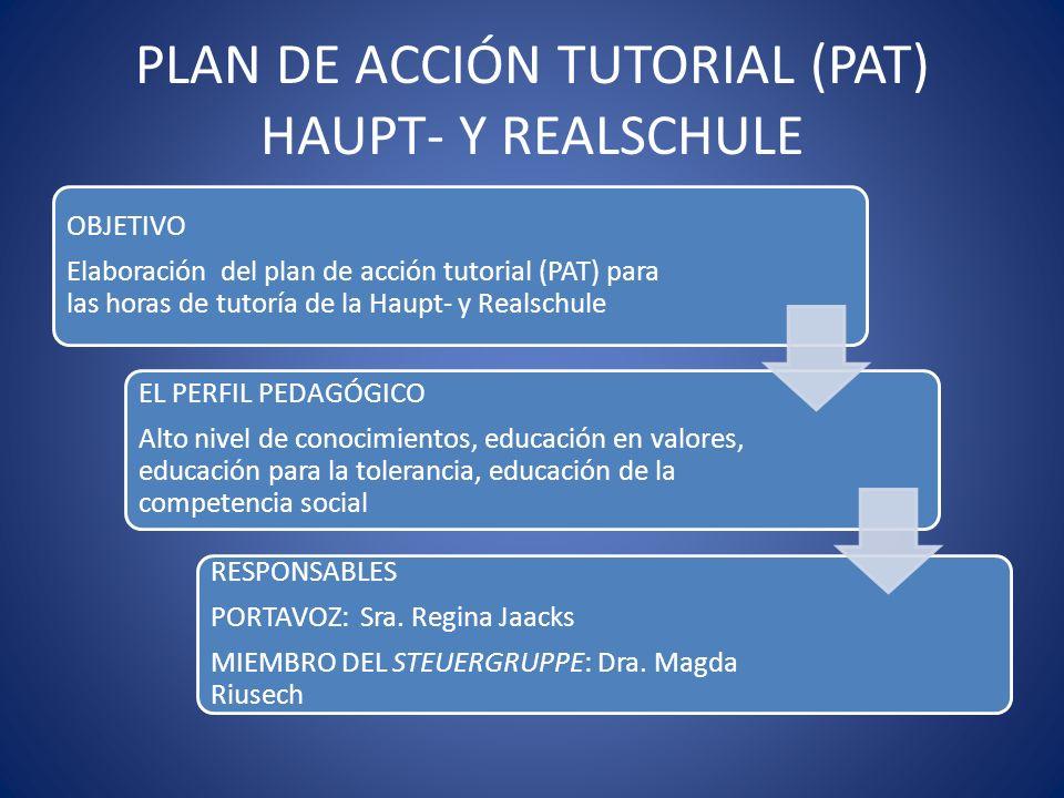 PLAN DE ACCIÓN TUTORIAL (PAT) HAUPT- Y REALSCHULE OBJETIVO Elaboración del plan de acción tutorial (PAT) para las horas de tutoría de la Haupt- y Real