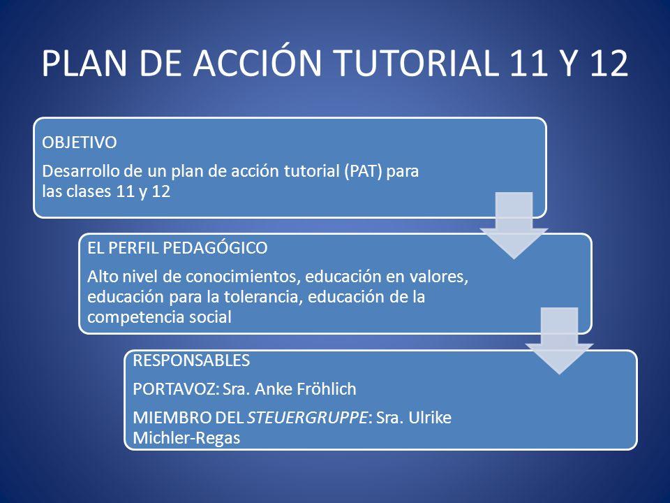 PLAN DE ACCIÓN TUTORIAL 11 Y 12 OBJETIVO Desarrollo de un plan de acción tutorial (PAT) para las clases 11 y 12 EL PERFIL PEDAGÓGICO Alto nivel de con