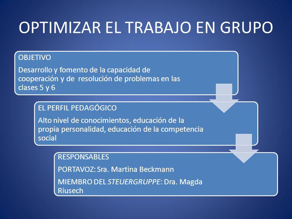 OPTIMIZAR EL TRABAJO EN GRUPO OBJETIVO Desarrollo y fomento de la capacidad de cooperación y de resolución de problemas en las clases 5 y 6 EL PERFIL