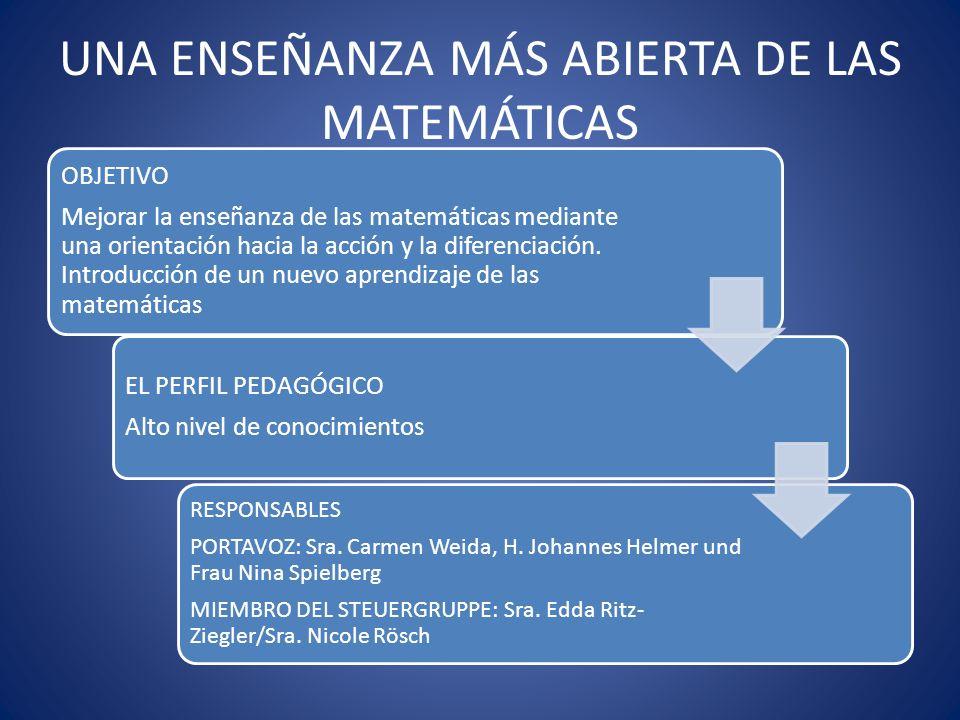 UNA ENSEÑANZA MÁS ABIERTA DE LAS MATEMÁTICAS OBJETIVO Mejorar la enseñanza de las matemáticas mediante una orientación hacia la acción y la diferencia