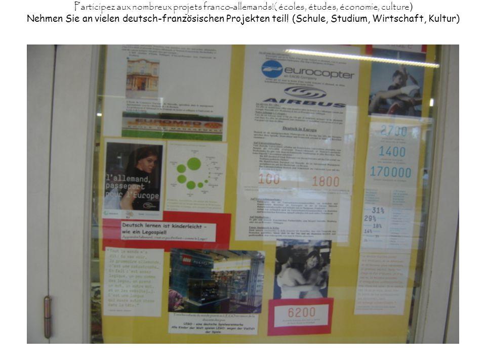 Participez aux nombreux projets franco-allemands!( écoles, études, économie, culture ) Nehmen Sie an vielen deutsch-französischen Projekten teil! (Sch
