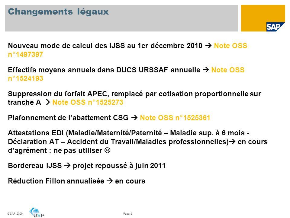 Changements légaux Nouveau mode de calcul des IJSS au 1er décembre 2010 Note OSS n°1497397 Effectifs moyens annuels dans DUCS URSSAF annuelle Note OSS