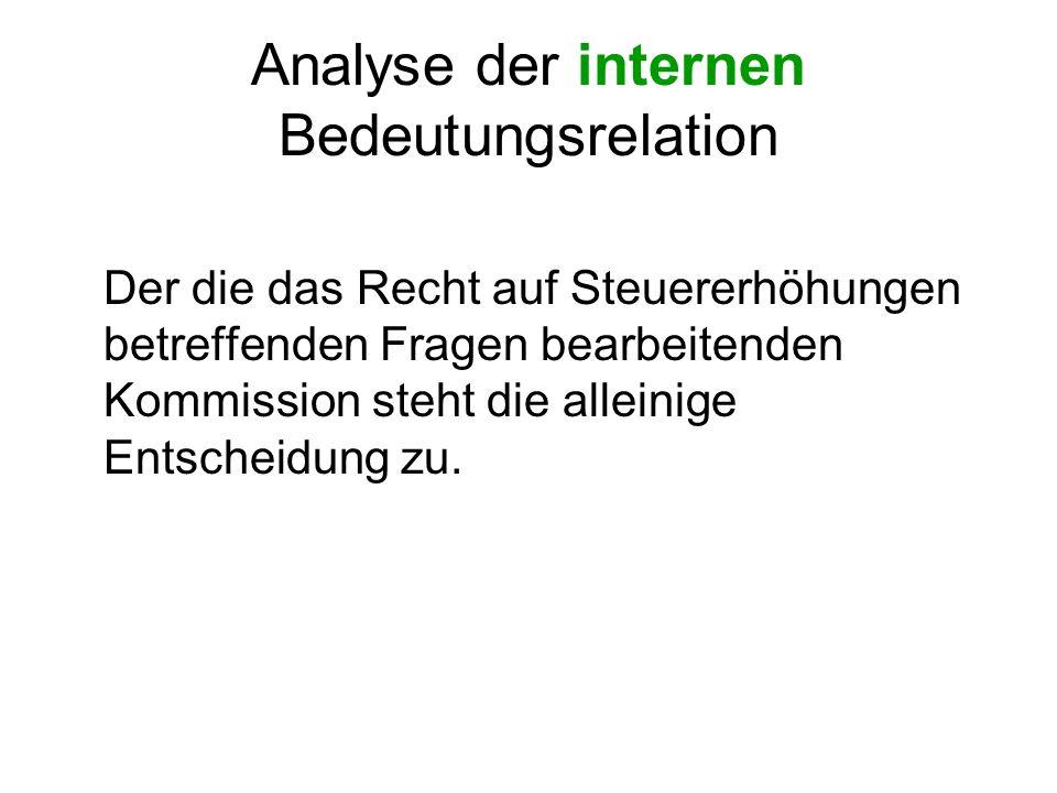 Analyse der internen Bedeutungsrelation Der die das Recht auf Steuererhöhungen betreffenden Fragen bearbeitenden Kommission steht die alleinige Entsch