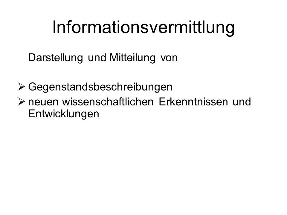 Informationsvermittlung Darstellung und Mitteilung von Gegenstandsbeschreibungen neuen wissenschaftlichen Erkenntnissen und Entwicklungen