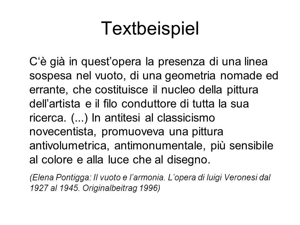 Textbeispiel Cè già in questopera la presenza di una linea sospesa nel vuoto, di una geometria nomade ed errante, che costituisce il nucleo della pitt