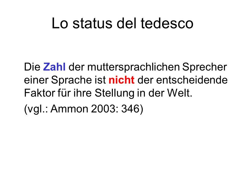 Lo status del tedesco Die Zahl der muttersprachlichen Sprecher einer Sprache ist nicht der entscheidende Faktor für ihre Stellung in der Welt. (vgl.: