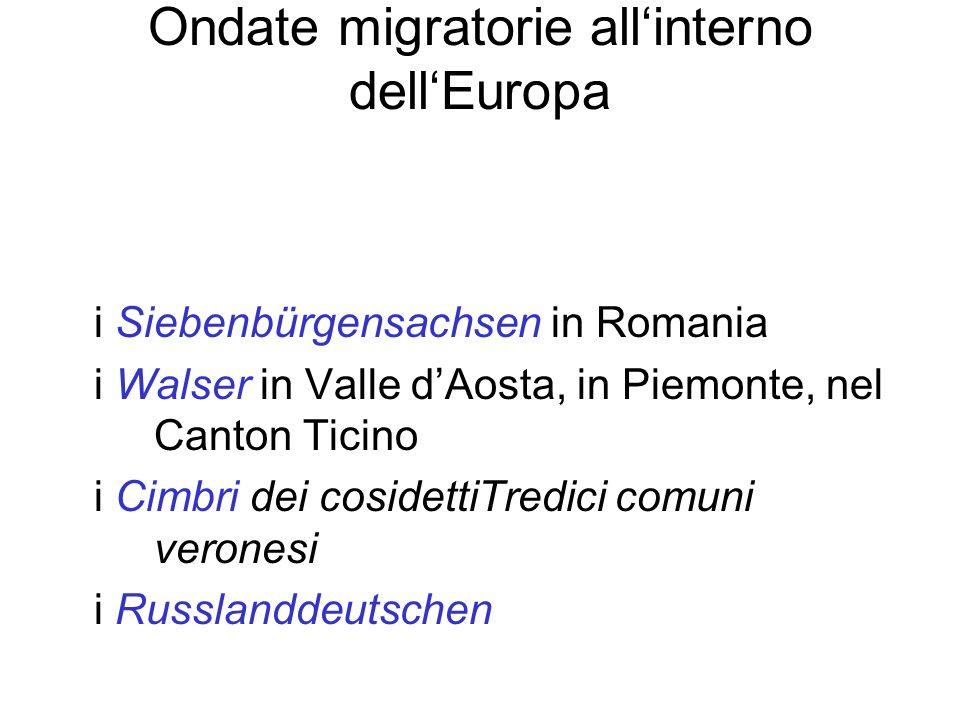 Ondate migratorie allinterno dellEuropa i Siebenbürgensachsen in Romania i Walser in Valle dAosta, in Piemonte, nel Canton Ticino i Cimbri dei cosidet