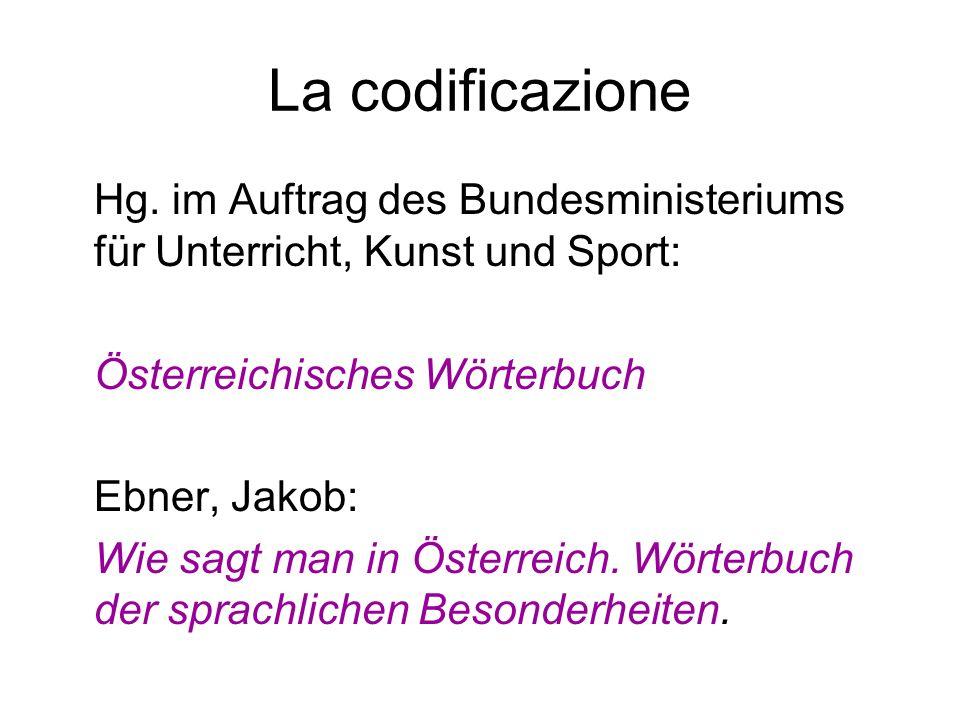 La codificazione Hg. im Auftrag des Bundesministeriums für Unterricht, Kunst und Sport: Österreichisches Wörterbuch Ebner, Jakob: Wie sagt man in Öste