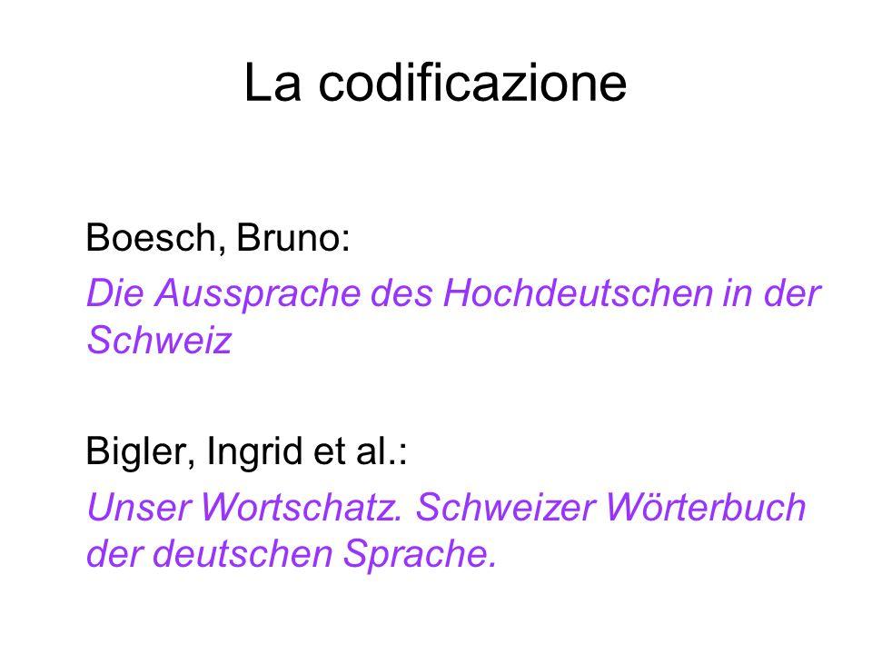 La codificazione Boesch, Bruno: Die Aussprache des Hochdeutschen in der Schweiz Bigler, Ingrid et al.: Unser Wortschatz. Schweizer Wörterbuch der deut
