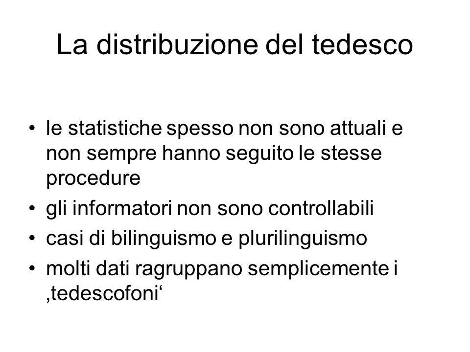 La distribuzione del tedesco le statistiche spesso non sono attuali e non sempre hanno seguito le stesse procedure gli informatori non sono controllab
