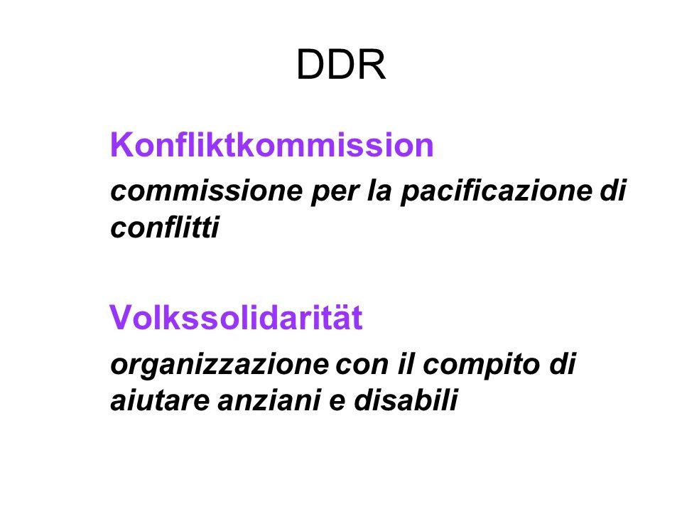DDR Konfliktkommission commissione per la pacificazione di conflitti Volkssolidarität organizzazione con il compito di aiutare anziani e disabili