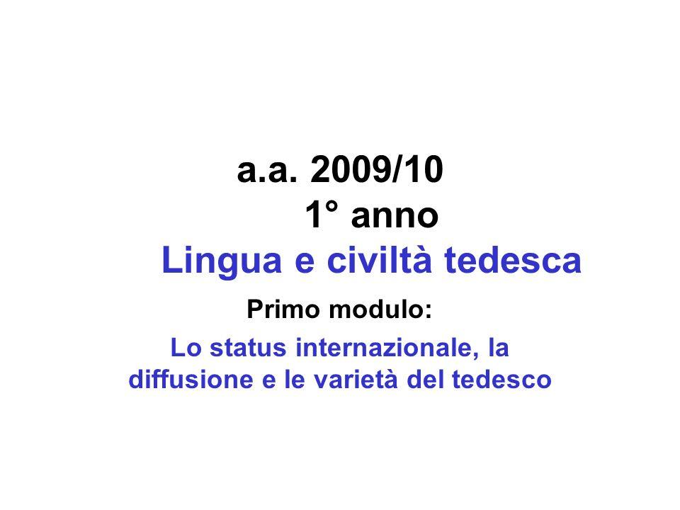 a.a. 2009/10 1° anno Lingua e civiltà tedesca Primo modulo: Lo status internazionale, la diffusione e le varietà del tedesco