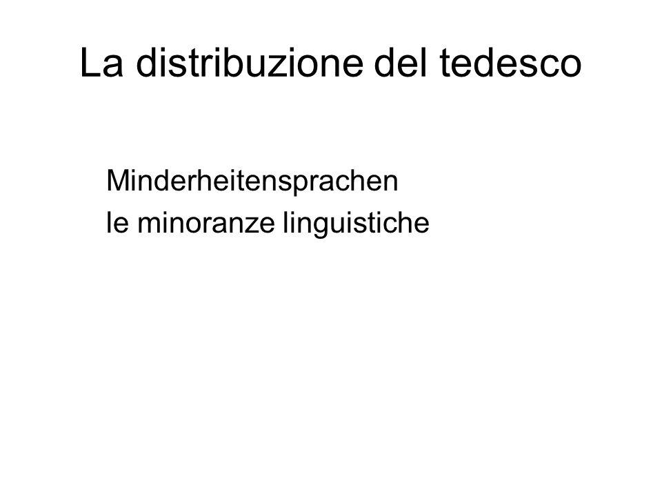 La distribuzione del tedesco Minderheitensprachen le minoranze linguistiche