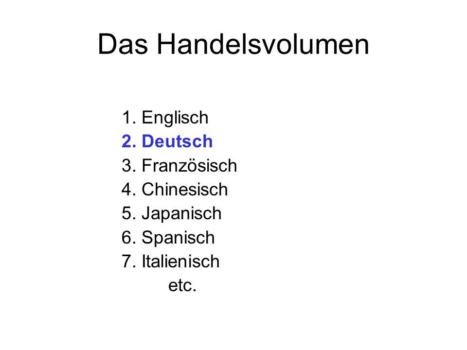 Das Handelsvolumen 1. Englisch 2. Deutsch 3. Französisch 4. Chinesisch 5. Japanisch 6. Spanisch 7. Italienisch etc.