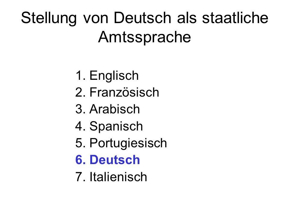 Stellung von Deutsch als staatliche Amtssprache 1. Englisch 2. Französisch 3. Arabisch 4. Spanisch 5. Portugiesisch 6. Deutsch 7. Italienisch
