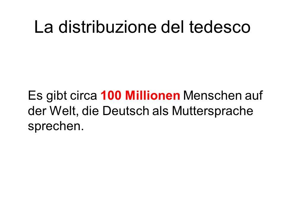 La distribuzione del tedesco Es gibt circa 100 Millionen Menschen auf der Welt, die Deutsch als Muttersprache sprechen.