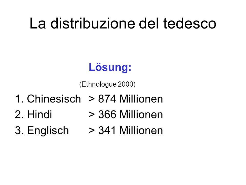 La distribuzione del tedesco Lösung: (Ethnologue 2000) 1. Chinesisch > 874 Millionen 2. Hindi > 366 Millionen 3. Englisch > 341 Millionen