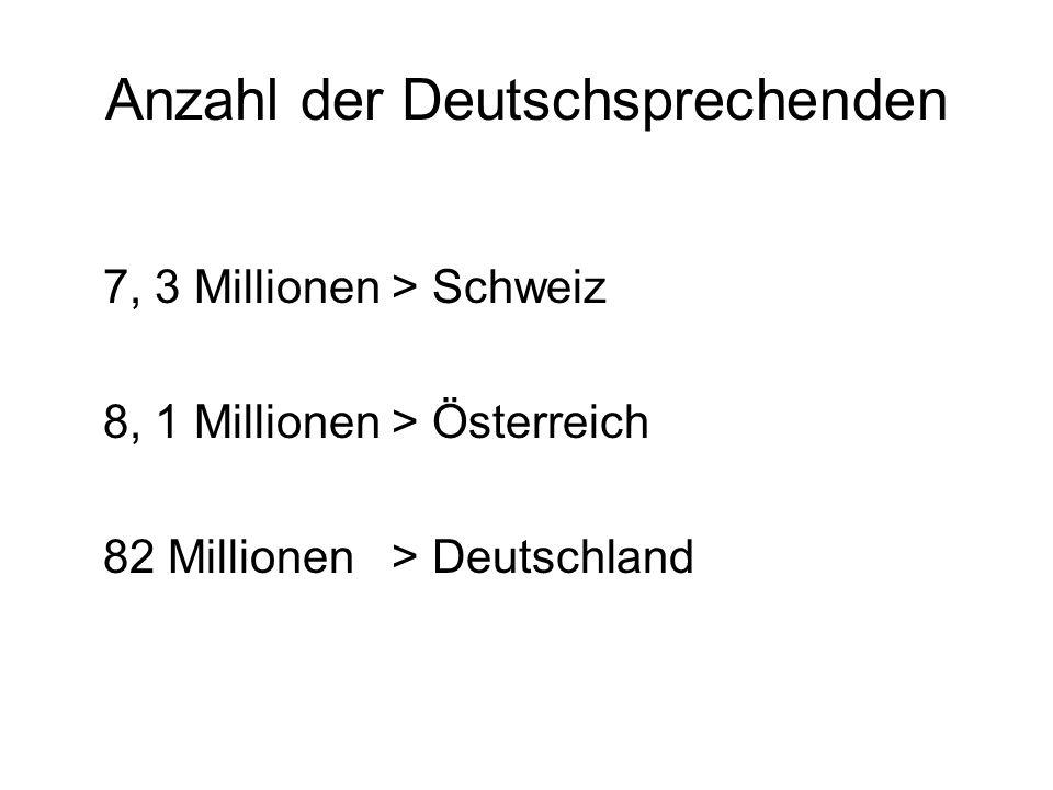 Anzahl der Deutschsprechenden 7, 3 Millionen > Schweiz 8, 1 Millionen > Österreich 82 Millionen > Deutschland