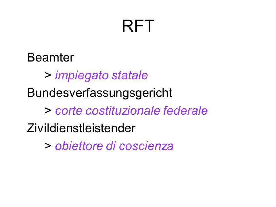RFT Beamter > impiegato statale Bundesverfassungsgericht > corte costituzionale federale Zivildienstleistender > obiettore di coscienza