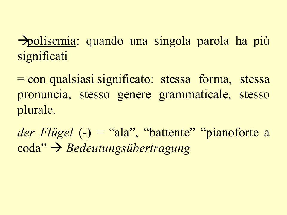 polisemia: quando una singola parola ha più significati = con qualsiasi significato: stessa forma, stessa pronuncia, stesso genere grammaticale, stesso plurale.