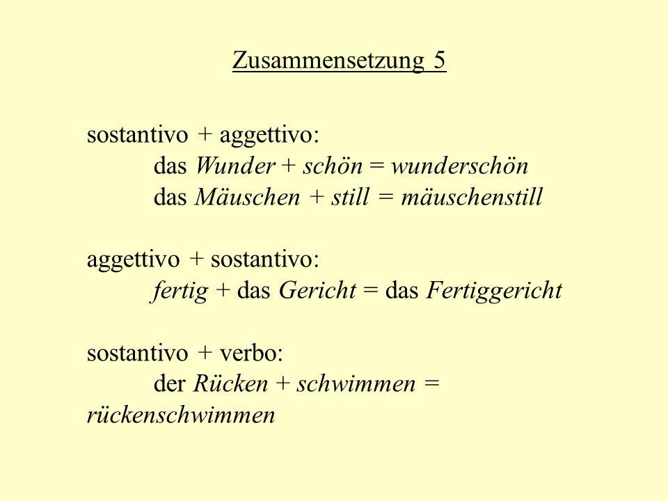 Zusammensetzung 5 sostantivo + aggettivo: das Wunder + schön = wunderschön das Mäuschen + still = mäuschenstill aggettivo + sostantivo: fertig + das G