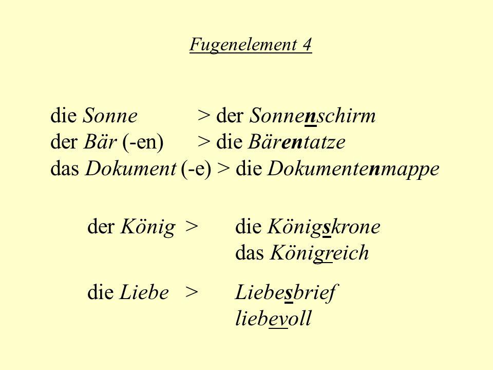 Fugenelement 4 die Sonne > der Sonnenschirm der Bär (-en) > die Bärentatze das Dokument (-e) > die Dokumentenmappe der König > die Königskrone das Königreich die Liebe > Liebesbrief liebevoll