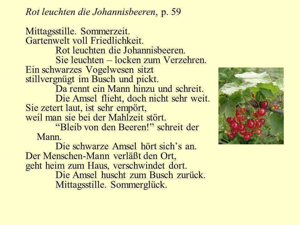 Rot leuchten die Johannisbeeren, p. 59 Mittagsstille. Sommerzeit. Gartenwelt voll Friedlichkeit. Rot leuchten die Johannisbeeren. Sie leuchten – locke