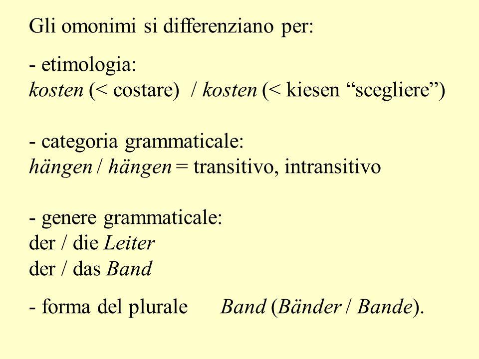 Gli omonimi si differenziano per: - etimologia: kosten (< costare) / kosten (< kiesen scegliere) - categoria grammaticale: hängen / hängen = transitivo, intransitivo - genere grammaticale: der / die Leiter der / das Band - forma del plurale Band (Bänder / Bande).