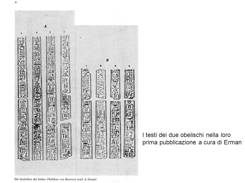 I testi dei due obelischi nella loro prima pubblicazione a cura di Erman