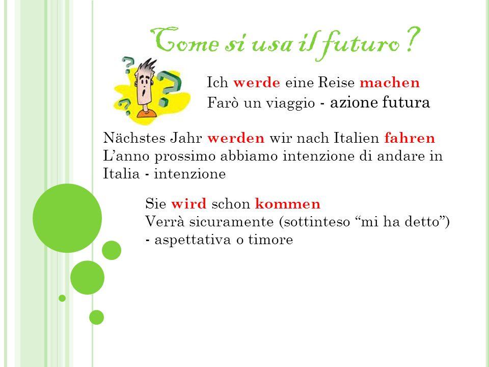 Come si usa il futuro? Nächstes Jahr werden wir nach Italien fahren Lanno prossimo abbiamo intenzione di andare in Italia - intenzione Ich werde eine