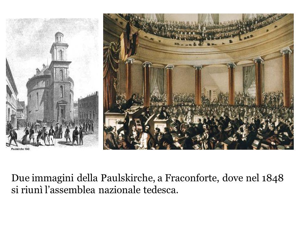 Due immagini della Paulskirche, a Fraconforte, dove nel 1848 si riunì lassemblea nazionale tedesca.