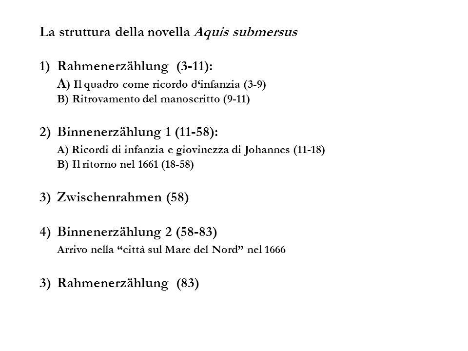 La struttura della novella Aquis submersus 1)Rahmenerzählung (3-11): A ) Il quadro come ricordo dinfanzia (3-9) B) Ritrovamento del manoscritto (9-11) 2)Binnenerzählung 1 (11-58): A) Ricordi di infanzia e giovinezza di Johannes (11-18) B) Il ritorno nel 1661 (18-58) 3)Zwischenrahmen (58) 4)Binnenerzählung 2 (58-83) Arrivo nella città sul Mare del Nord nel 1666 3)Rahmenerzählung (83)