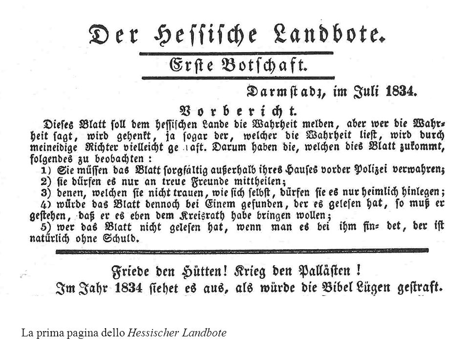 La prima pagina dello Hessischer Landbote