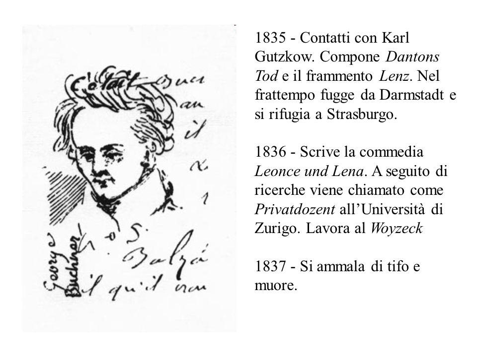 1835 - Contatti con Karl Gutzkow. Compone Dantons Tod e il frammento Lenz. Nel frattempo fugge da Darmstadt e si rifugia a Strasburgo. 1836 - Scrive l